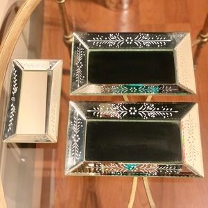 TWO'S COMPANY Set of 3 Mirrored Trays